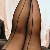 Black Lace Hold Up Stockings with Seam