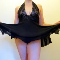 Black Silky Baby Doll Lingerie