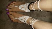 Chrochet barefoot white sandals