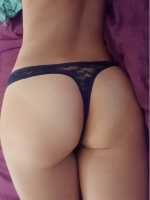 Navy Blue Lace Thong