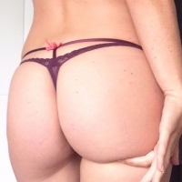 Purple satin touch bow back G string