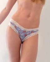 Satin Touch Blue Floral Brazilian Style
