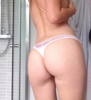 Shiny Light Pink Satin Thong
