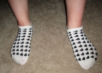 stinky old white&black heart socks &pics