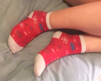 stinky red christmas socks & pics!