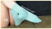Textured Mint Cotton Used Worn Socks