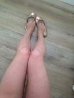 Totally trashed rose gold ballet pumps
