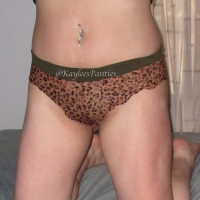 USED LEOPARD LACE CHEEKY PANTY & PICS