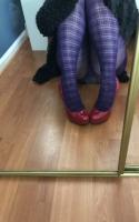 Used Purple Plaid Pantyhose