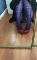 Used Purple Plaid Pantyhose
