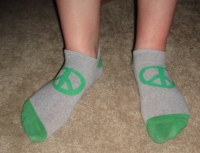 well worn peace sign socks & pics!