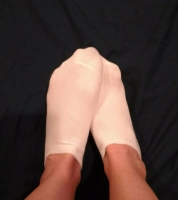 White sweaty workout socks