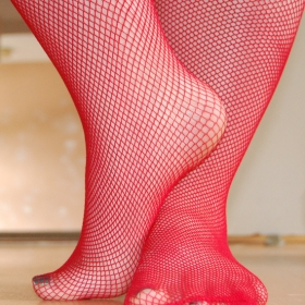 naughty red fishnet