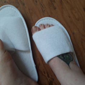 soon to be not so white soft slippers