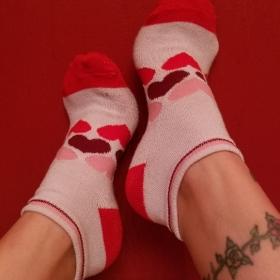 Worn Heart Ankle Socks