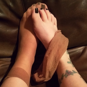 Worn Nude Nylon Socks